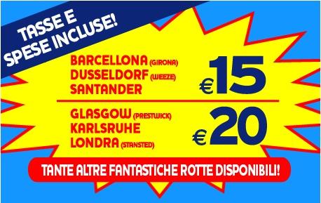 Ryanair: da 10€ tasse comprese