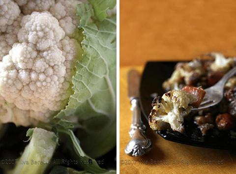 Cavolfiore e zucca invernale arrostiti, con rosmarino, chili e noci