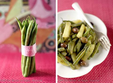 Fagiolini e patate con quattro erbe e olive
