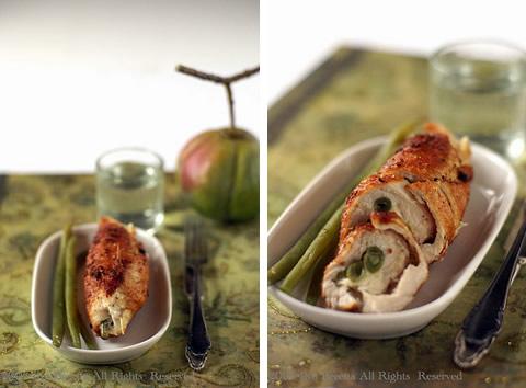 Involtini di pollo o tacchino con mozzarella e fagiolini