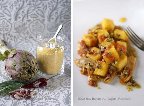 Cubi di polenta fritta con carciofi piccanti e pistacchi