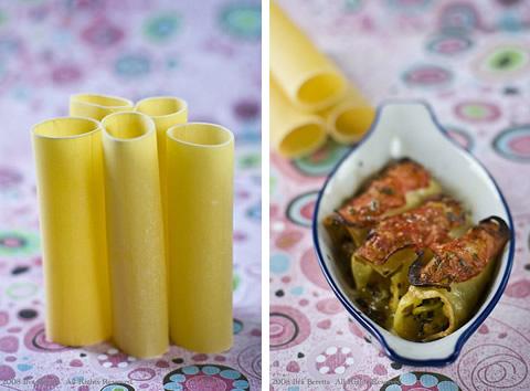 Cannelloni con zucchine e peperoni, profumati di origano
