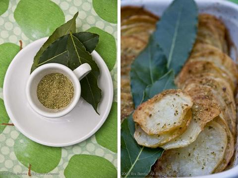 Tian di patate con semi di finocchio e foglie d'alloro