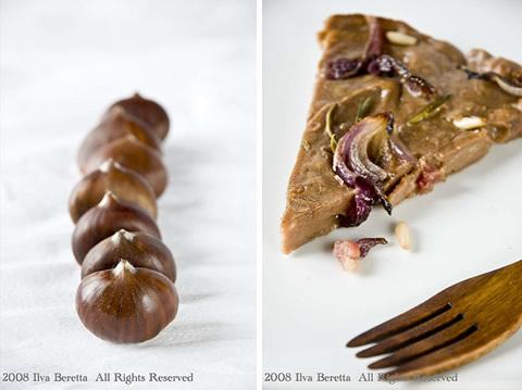 Castagnaccio salato con pancetta affumicata, cipolle, pinoli e rosmarino