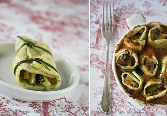 Cannelloni alle erbe ripieni di verdure e mozzarella al pomodoro