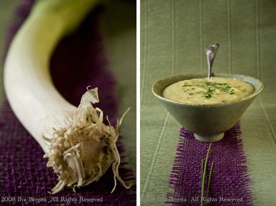 Zuppa di patate, zucchine e porri con timo ed erba cipollina