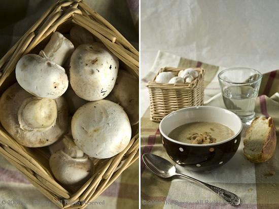 Zuppa cremosa di funghi con semi di finocchio