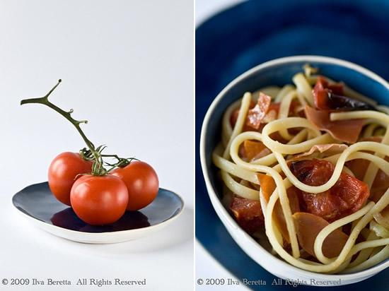 Pasta con pomodori arrosto, semi di finocchio e prosciutto croccante
