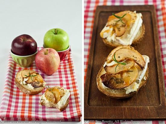 Crostini con formaggio di capra e mele caramellate al rosmarino