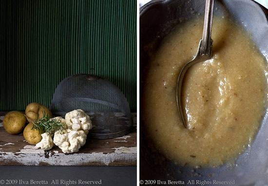 Zuppa di cavolfiore e patate grigliati al rosmarino
