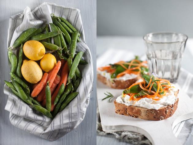 Sandwich con formaggio di capra carote marinate rosmarino e piselli freschi