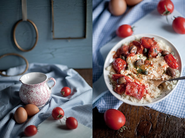 Couscous uova pomodori olive capperi