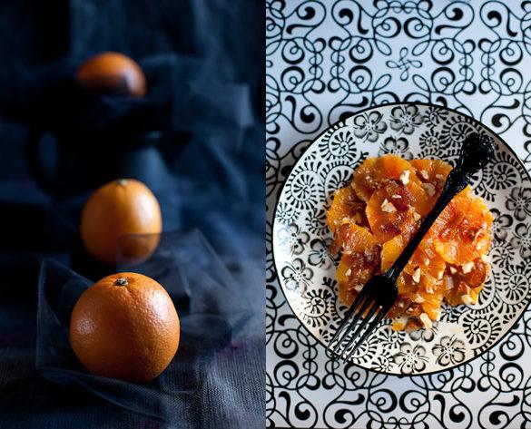 Insalata arance albicocche nocciole sciroppo acero