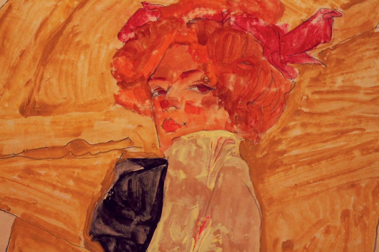 "Egon Schiele - ""Gerti vor ockerfarbener Draperie"" - 1910"