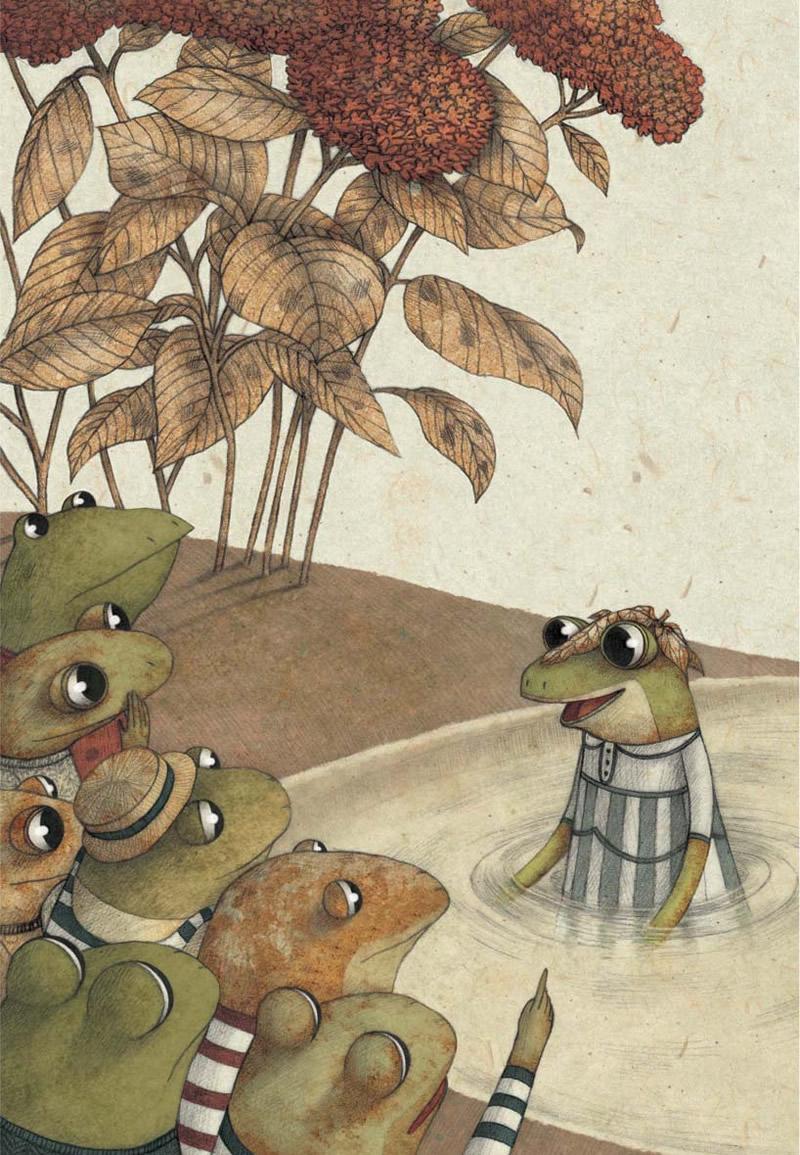 Illustrazione di Marco Somà da La regina delle rane non può bagnarsi i piedi, Copyright Bruaà 2012 - Copyright Kite per l'edizione italiana, 2013