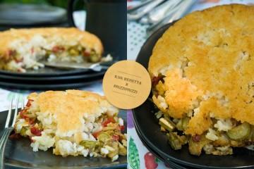 Torta di riso con verdure, ripiena di mozzarella