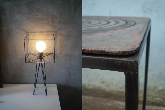 (a sx) tavolino in ferro e piastra putagè | (a dx) abat-jour