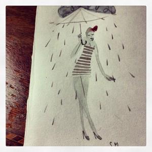 «vabbè, chiaramente il disegno era paraculo e stava piovendo nel momento in cui l'ho fatto e consegnato»