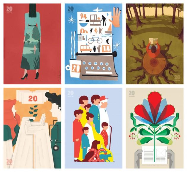 i poster di VentiVita | in alto, da sinistra: Emiliano Ponzi (giugno 2014), Giovanni Pastori (maggio 2014), Giordano Poloni (aprile 2014); in basso, da sinistra: Sergio Membrillas (marzo 2014), Giacomo Bagnara (febbraio 2014), Francesco Poroli (gennaio 2014) | courtesy Matteo Riva