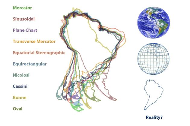Qual è la vera forma dell'America del Sud? (anche le immagini satellitari non sono che proiezioni, scrive Rankin)