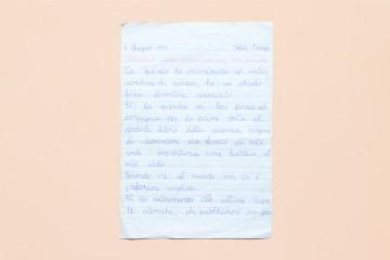"""""""Desidero comunicarvi una mia aspirazione"""" — uno dei temi di Thomas Poioli, su un foglio protocollo del 1993"""