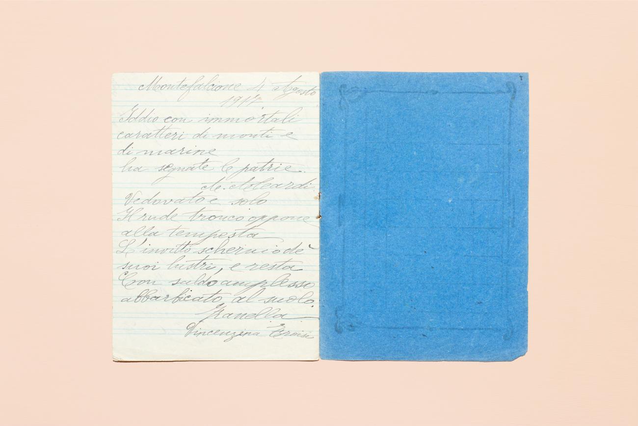 Pagine di un quaderno del 1916, il più vecchio finora raccolto
