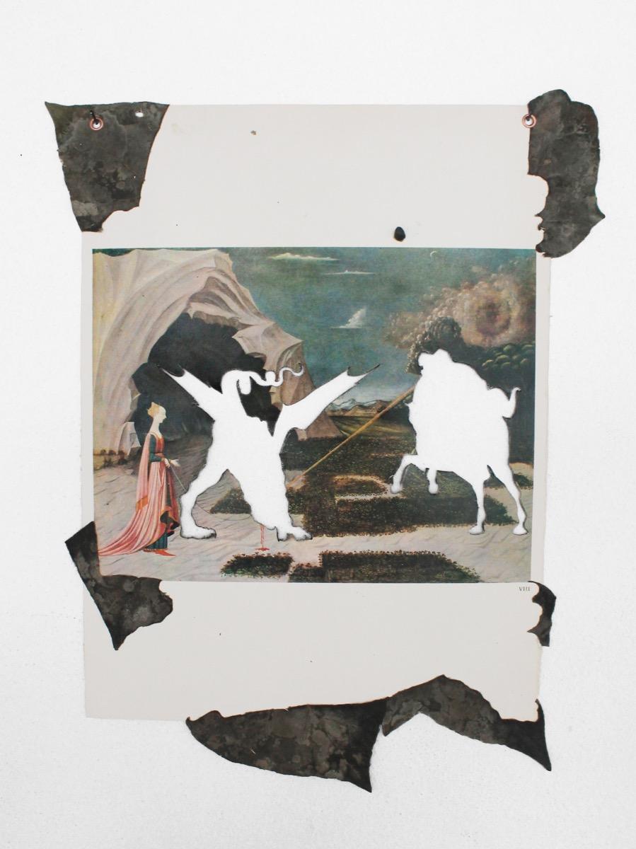 Mirko Canesi, Senza titolo (San Giorgio e il Drago), tecnica mista su pagina di catalogo, cm33x44, 2014