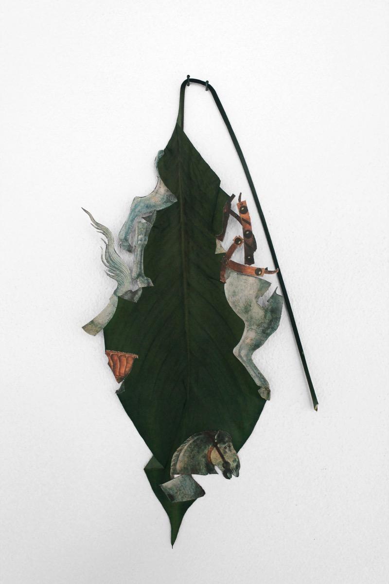 "Mirko Canesi, Senza titolo / ""Fall and Rising, Fall and Rising, Fall and Rising..."", collage su foglia, cm27x32, 2014"