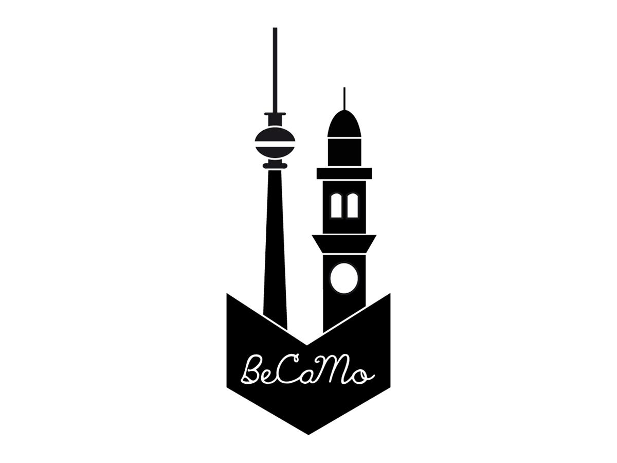 il logo di Becamo è stato realizzato da Giada Yeya Montomoli e rappresenta le torri simbolo delle due città: la torre della Televisione di Berlino e la torre Civica di Casale Monferrato