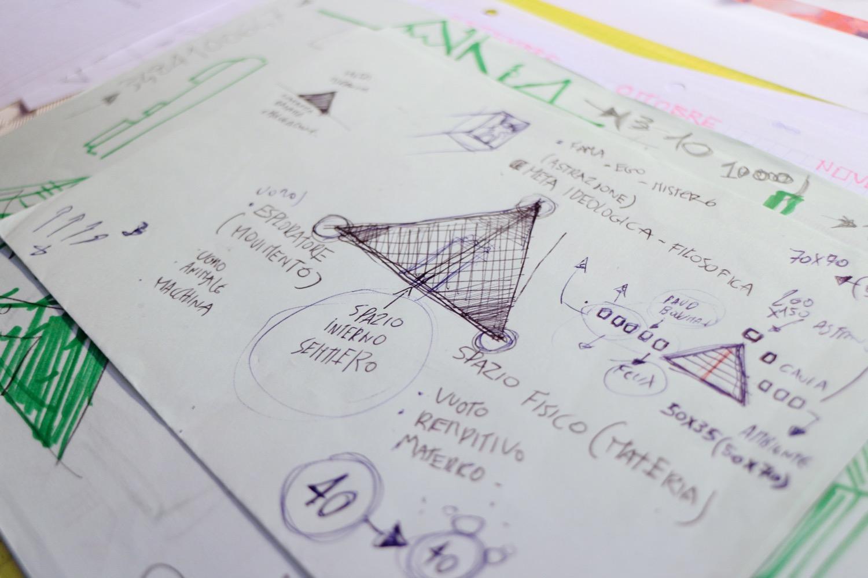 Il triangolo da cui è nato tutto il concept della mostra, ispirato al triangolo di Kandinsky