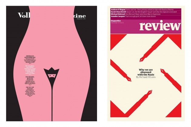 Due recenti copertine illustrate da Noma Bar. A sinistra, Volkskrant Magazine; a destra, The Guardian Review