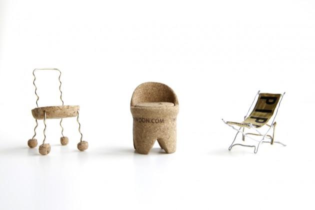 le tre sedie-tappo vincitrici del concorso
