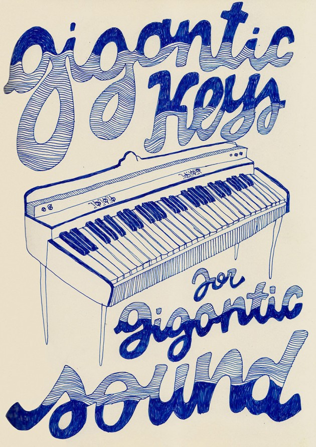 "Emilia Patrignani, ""Gigantic sound"", penna blu su carta, 2015, ©Emilia Patrignani"
