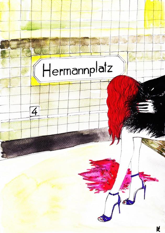"Marianna Zanella (Mariuska), ""Hermannplatz"", acquerello e penna, artista: Marianna Zanella (Mariuska), 2015, ©Mariuska"