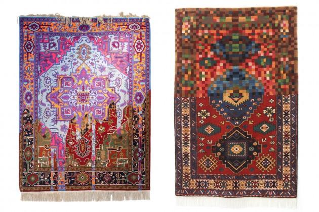 "a sinistra: Faig Ahmed, ""Invert"", 150x200cm, tappeto tessuto a mano, 2014; a destra: Faig Ahmed, ""Tradition in Pixel"", 100x150xm, tappeto tessuto a mano, 2010"