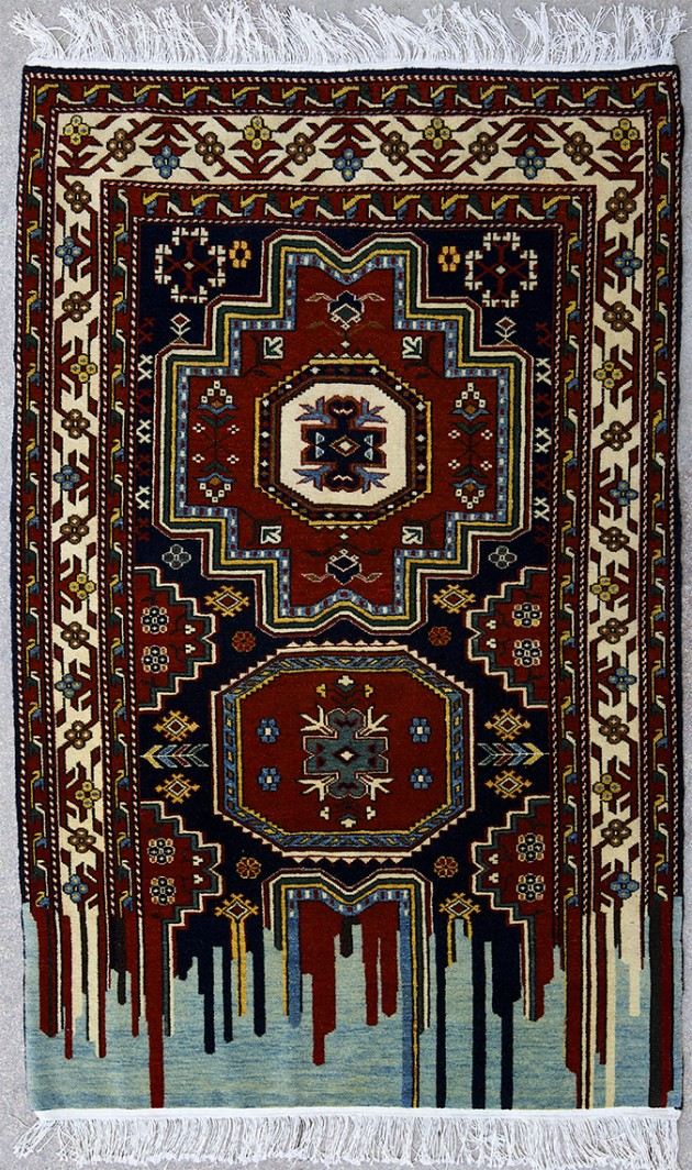 "Faig Ahmed, ""Instability"", 100x150cm, tappeto tessuto a mano, 2010"