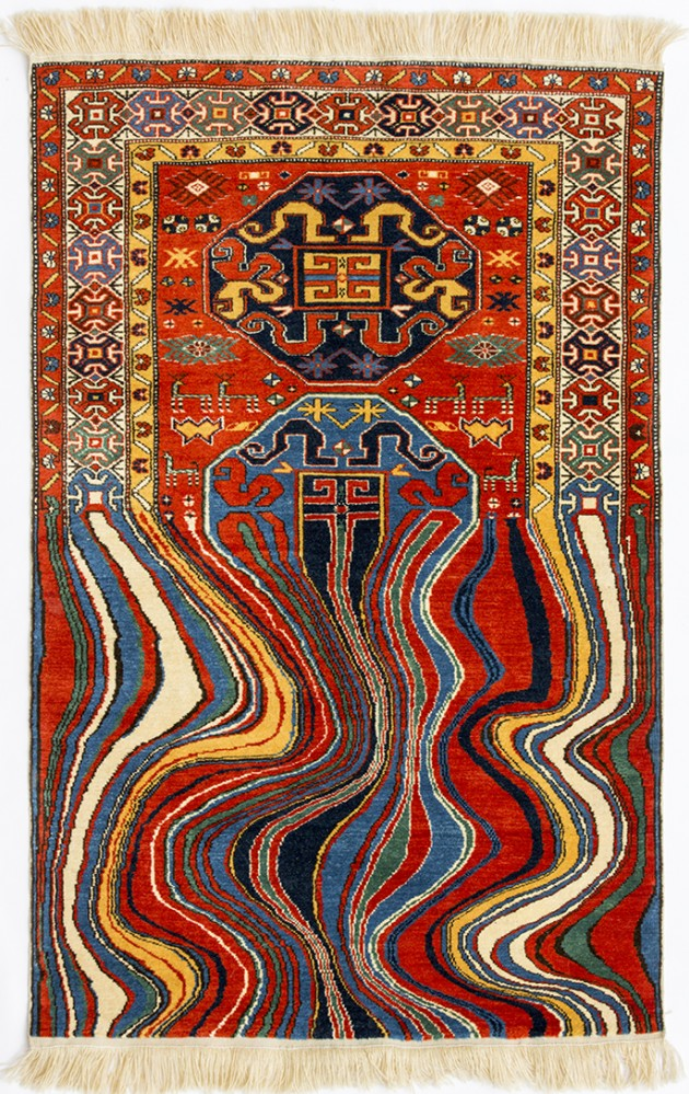"Faig Ahmed, ""Oiling"", 100x150cm, tappeto tessuto a mano, 2012"