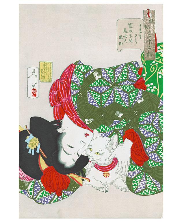 "Tsukioka Yoshitoshi (1839-1892), ""Looking tiresome: the appearance of a virgin of the Kansei Era"", 1888, color woodblock print"