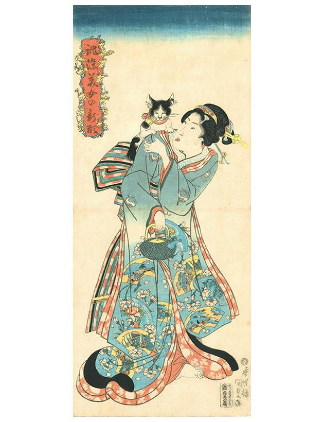 "Utakawa Kunisada (1786-1864), ""Cat and beauty"", 1818-30, color woodblock print"