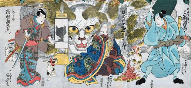 "Utagawa Kuniyoshi (1797-1861), ""From the fifty-three stations of the Tōkaidō Road: scene at Okazaki: Onoe Kikugorō III as the Neko-ishi no Kai, the spirit of the cat stone, Mimasu Gennosuke I as Shirasuga Jūemon, and Ichimura Uzaemon XII as Inabanosuke"", 1835, color woodblock print"