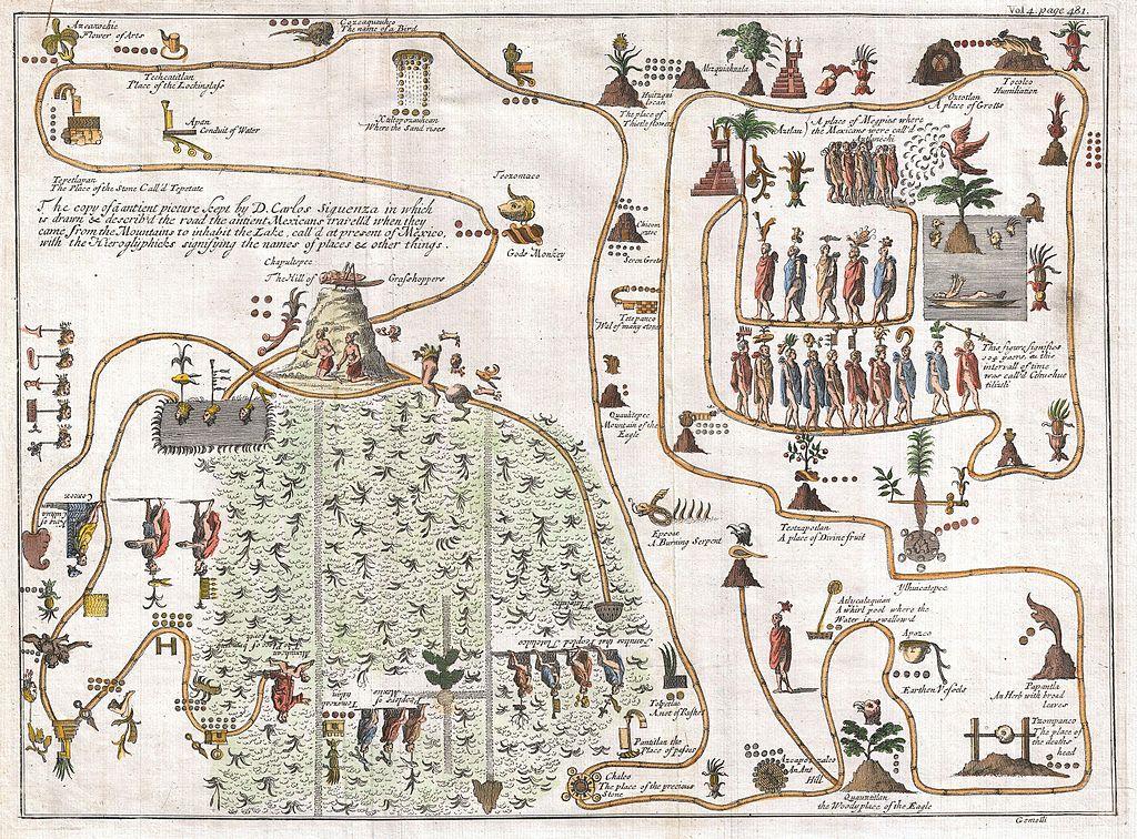 Giovanni Francesco Gemelli Careri, senza titolo, (1704, la leggendaria migrazione Azteca da Aztlan, una sorta di misterioso paradiso nel nord-ovest del Messico, fino  al monte Chapultepec, nell'attuale Città del Messico)