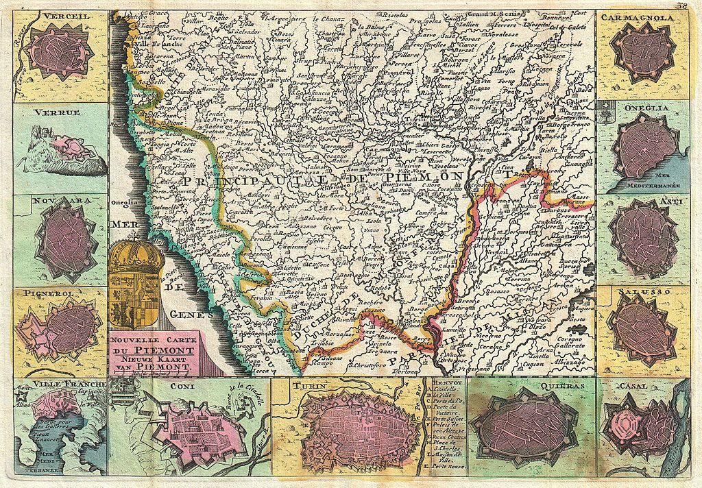"""Daniel de La Feuille, """"Nouvelle Carte du Piemont"""", (1747, mappa del Piemonte e dei maggiori centri dell'epoca)"""