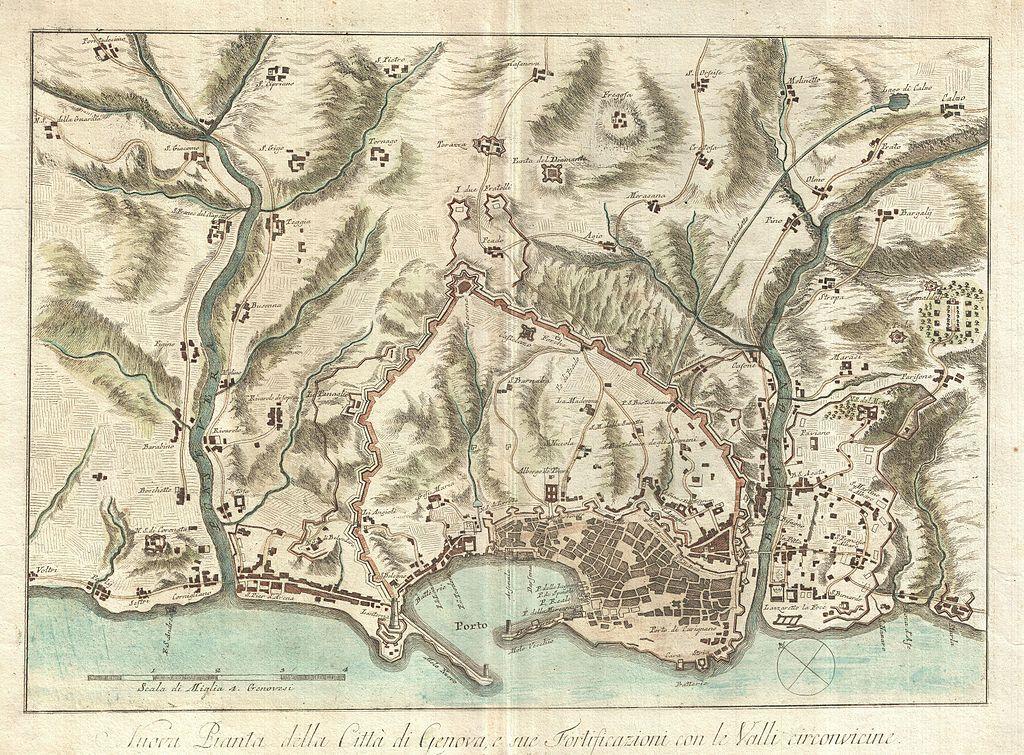 """Bardi, """"Nuova Pianta della Citta di Genova, e sue Fortificazioni con le Valli circonvicine"""", (1800)"""