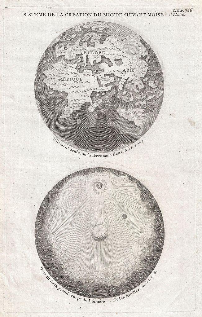 """Antoine Augustin Calmet, """"Sisteme de la Creation du Monde Suivant Moise"""", (1728, mappa che rappresenta la visione e la creazione del mondo da una prospettiva arcaica visto che l'America era già stata scoperta da tempo e la teoria eliocentrica di Copernico era già stata accettata)"""