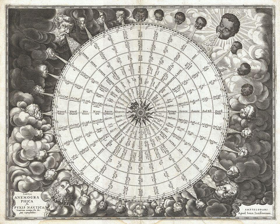 "Jan Janssonius, ""Tabula Anemographica seu Pyxis Nautica Ventorum Nomina Sex Linguis Repraesentans"" (una rosa dei venti del 1650)"