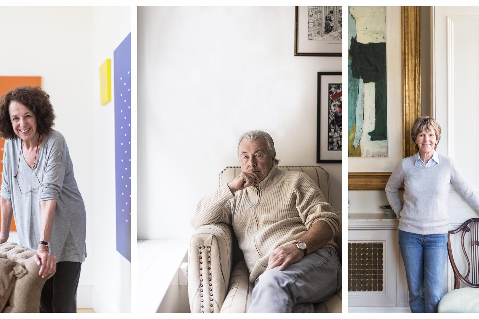 da sinistra: Tess Jaray, 77 anni, pittrice e stampatrice inglese; Terry O'Neill, 76 anni, fotografo; Jennifer Murray, 74 anni, aviatrice e scrittrice