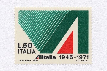 Alitalia 25 Years (L.50). Italy, 1971. Design: E. Ciocca