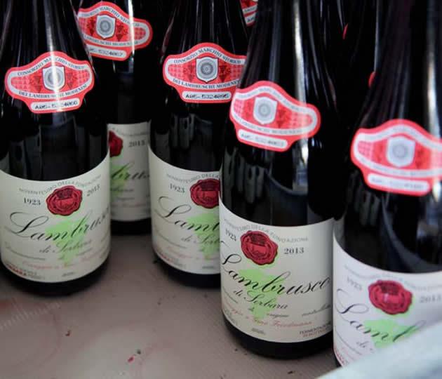 bottiglie di Lambrusco di Sorbara DOP Omaggio a Gino Friedmann