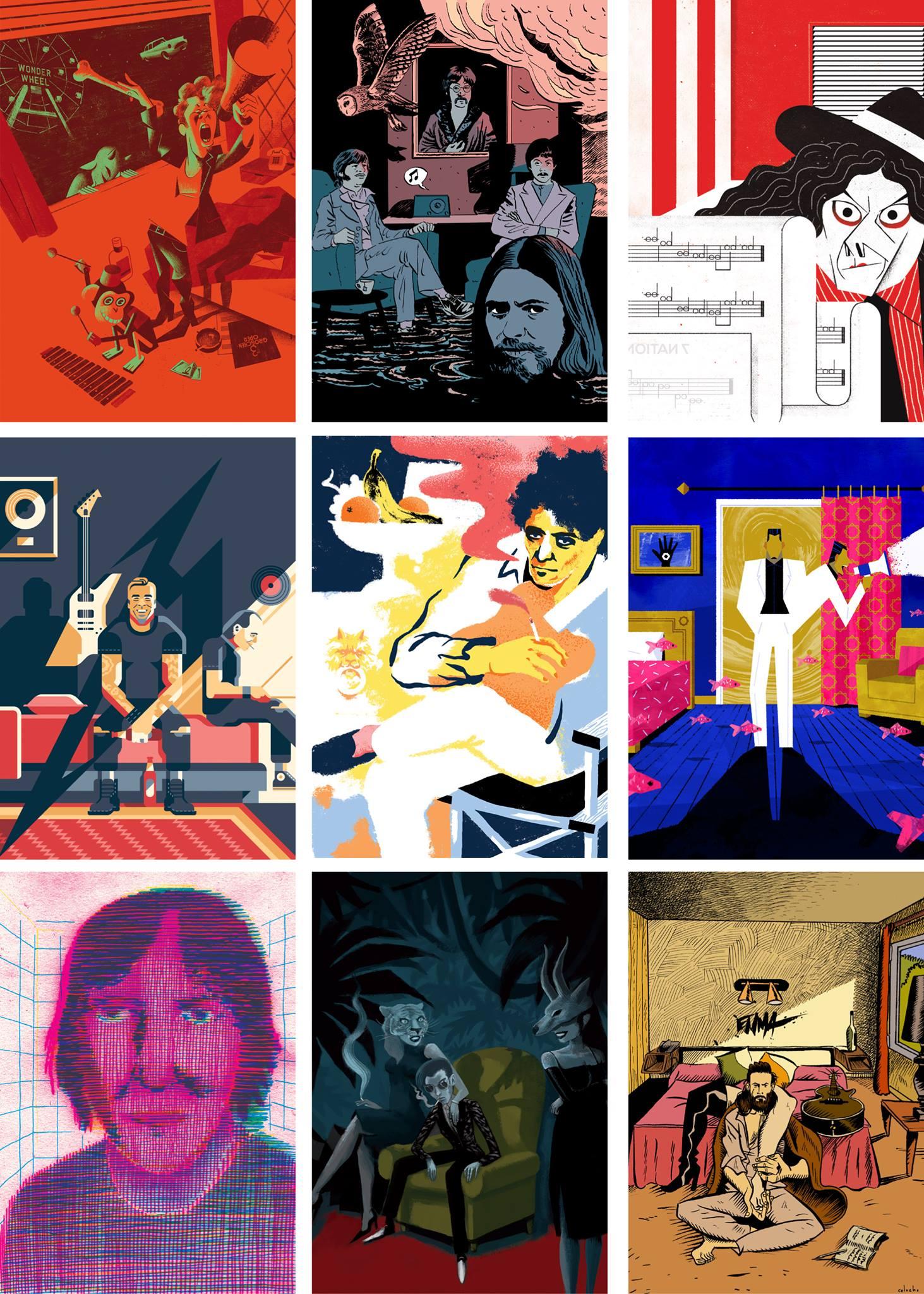 alcune delle illustrazioni in mostra; queste sono opera di Davide Saraceno, Marino Neri, Giulio Castagnaro, Davide Mazzuchin, Vuftin, Benjamin Flouw, Giacomo Nanni, Nicolas Duffaut, Colocho Éric