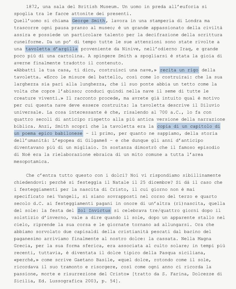"""testo tratto dal post sulla """"Cassata al forno simbolica"""""""